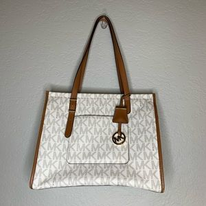 Michael Kors White Brown Coated Leather Tote Purse